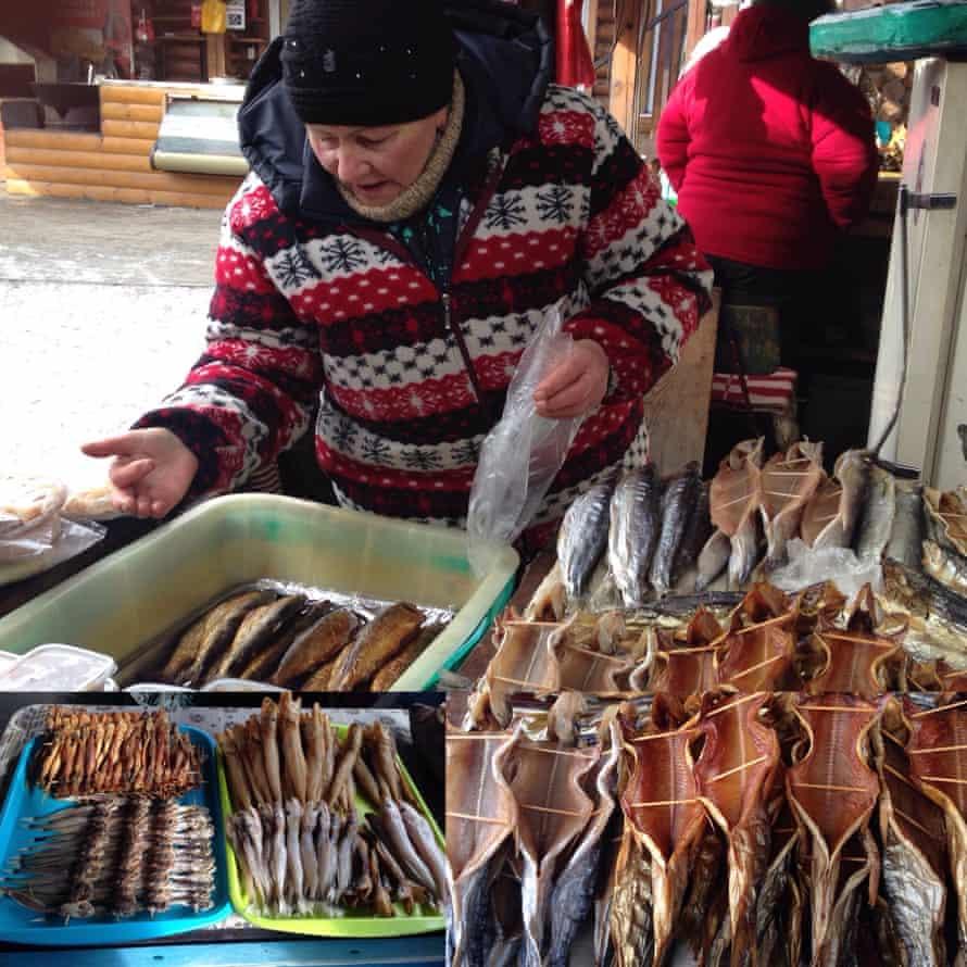 Omul fish for sale at Lake Baikal.