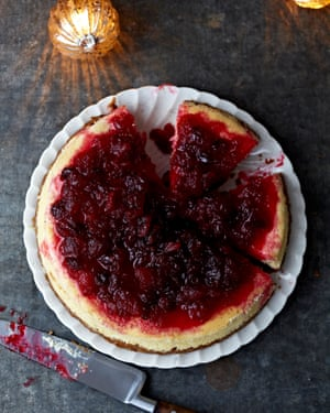 Claire Ptak's spiced cheesecake with cranberry compote.