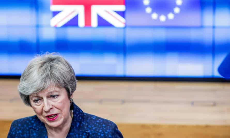 Theresa May in Brussels after a meeting with Donald Tusk, 7 February 2019