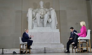 Donald Trump participates in a coronavirus disease town hall on America returning to work, held at Lincoln Memorial in Washington on May 3.