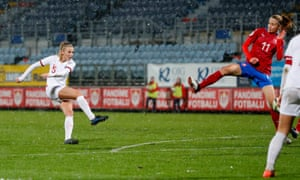 Leah Williamson thumps home from outside the box and ends up in the net via a deflection, for her first international goal.