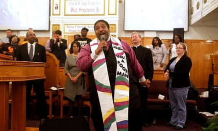 William Barber speaks at Stone Temple Missionary Baptist Church on 12 October 2017 in Chicago, Illinois.