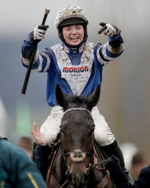 Bryony Frost points to her horse Frodon after victory in the Crest Nicholson Handicap Chase during Festival Trials Day at Cheltenham in January