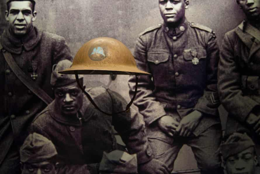 A first world war helmet of the US Army's 369th Infantry Regiment, known as the Harlem Hellfighters, on display at the museum.