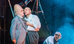 A great head for a beheading … Brindley Sherratt as Fafner and John Lundgren as Wotan in Das Rheingold.
