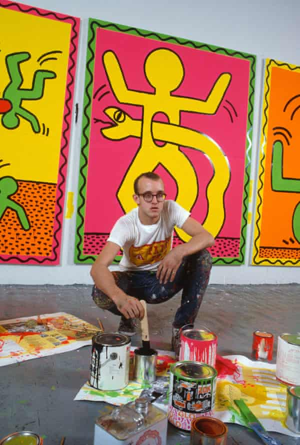 Keith Haring at work in his New York studio in October 1982.
