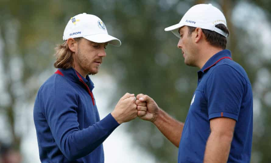 Tommy Fleetwood and Francesco Molinari won both of their matches on the opening day of the 2018 Ryder Cup.
