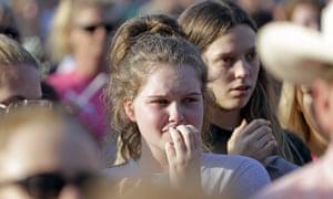 Students from Santa Fe high school listen during a prayer vigil.