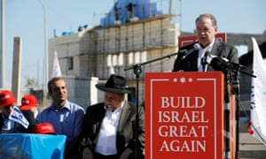Former Arkansas governor Mike Huckabee speaks during a ceremony marking the construction of a new housing complex in the Israeli settlement of Efrat in the occupied West Bank on 1 August.