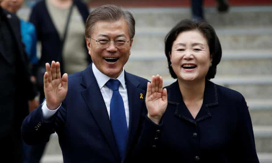 Moon Jae-in, the presidential candidate of the Democratic Party of Korea, and his wife Kim Jung-sook outside a polling station in Seoul, South Korea.