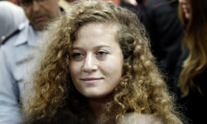 Ahed Tamimi arrives for the beginning of her trial in the Israeli military court at Ofer military prison.
