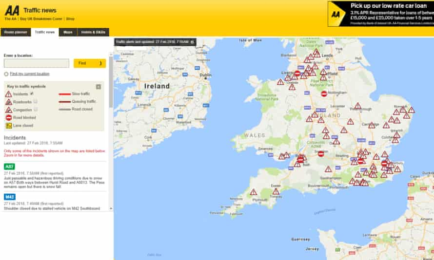 The AA's Traffic news site.