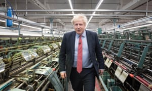Boris Johnson during a visit to the John Smedley Mill.