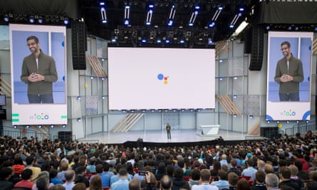 Sundar Pichai, chief executive officer of Google, speaks during the Google I/O Developers Conference in Mountain View in May.