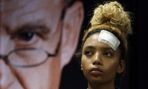 Gabriella Engels looks on during a media conference in Pretoria, South Africa.