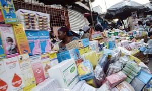 Medicines on sale at Adjamé market, in Abidjan, Ivory Coast