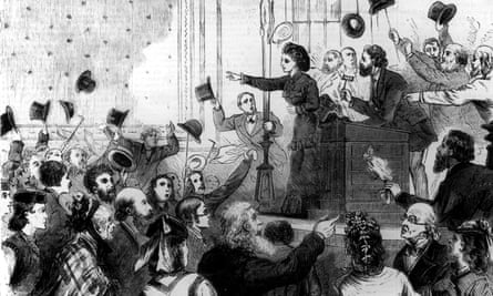 Victoria Woodhull campaigning for the presidency at a rowdy public rally.