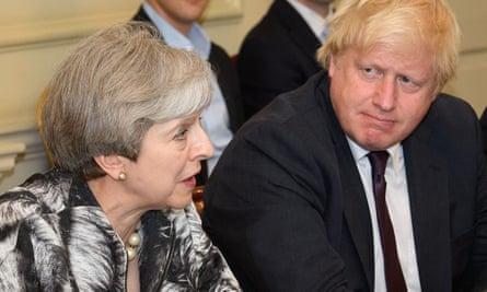 Theresa May and Boris Johnson in June.
