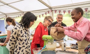 'Quintessentially English': Noel Fielding, Paul Hollywood and Prue Leith with Peter, the first contestant to be eliminated from Channel 4's Great British Bake Off.