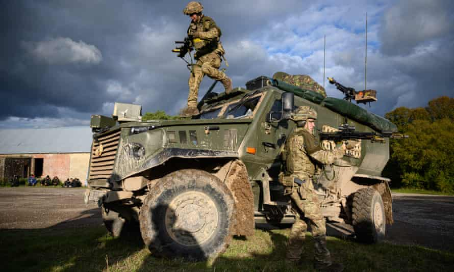 British troops  during a training exercise on Salisbury Plain