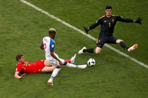Panama's Michael Amir Murillo has a effort saved by Belgium's Thibaut Courtois.