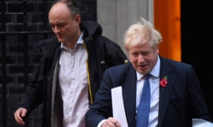Prime Minister Boris Johnson and his political advisor Dominic Cummings leave 10 Downing Street on October 28, 2019 in London, England