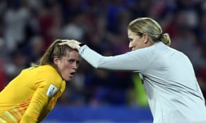 United States' coach Jillian Ellis (right) celebrates with her goalkeeper Alyssa Naeher at the end of the match.