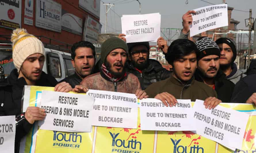A protest in Srinagar over the internet service blockade in Kashmir.