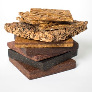 Samples of Orb, a building material made from food or agricultural waste.