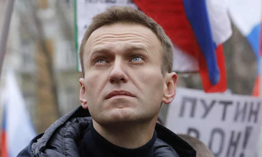 Alexei Navalny attending a rally in Moscow in February.