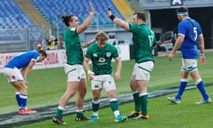 Ireland celebrate another try.