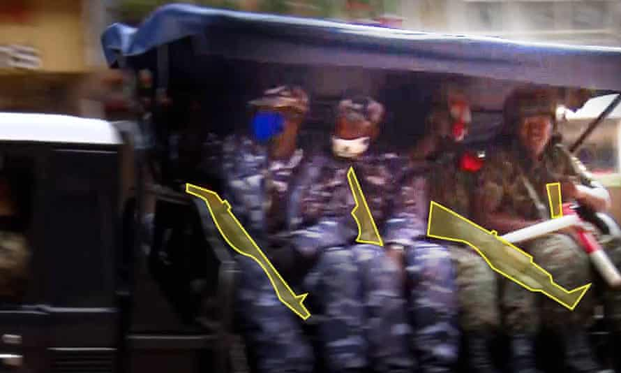 Another still from the BBC Africa Eye footage highlights the weapons being used by the people on the patrol truck.