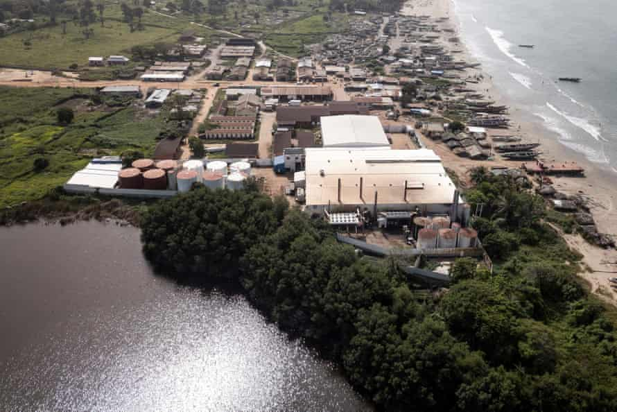 The Golden Lead Chinese fishmeal factory, standing between the beach and Bolong Fenyo salty lake, which is allegedly still polluted