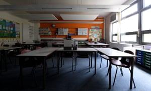 An empty classroom at Vaughan Primary School, Harrow, London.