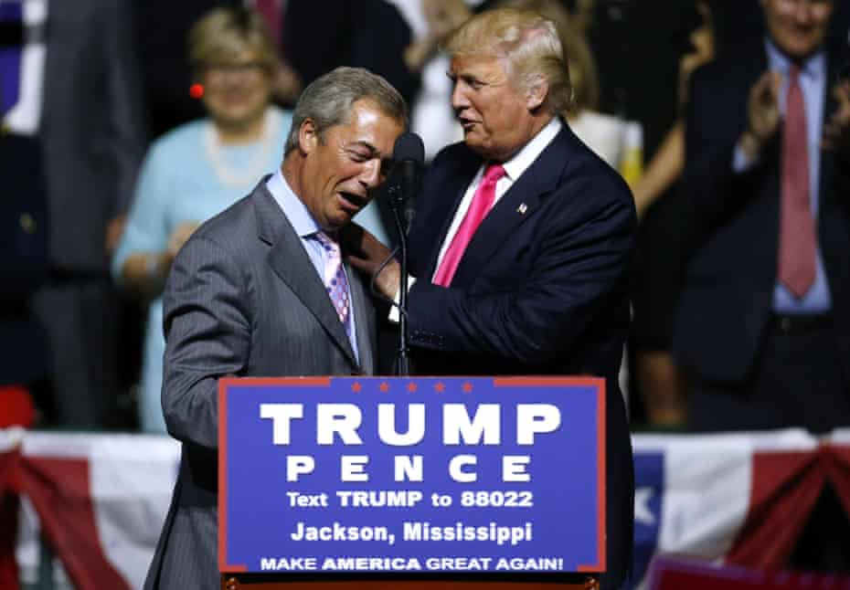 Nigel Farage and Donald Trump at a US presidential campaign rally in August 2016.