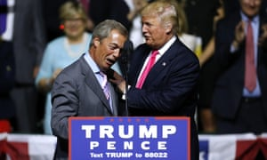 Nigel Farage with Trump during a campaign rally in Mississippi in August.