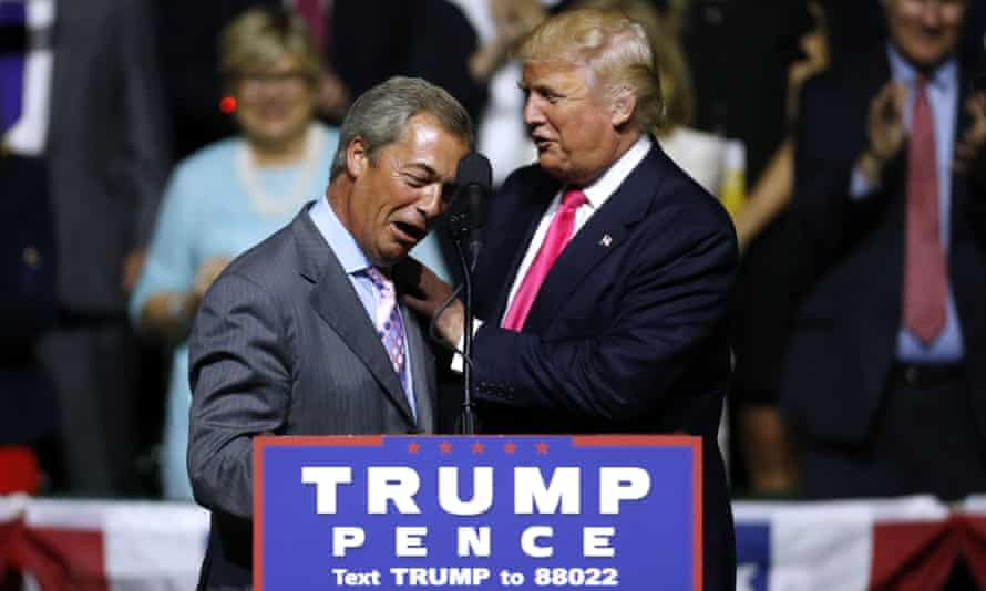 Donald Trump with Nigel Farage during a campaign rally in Jackson, Mississippi, in August 2016