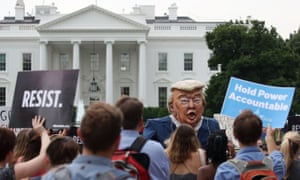 People protest against Donald Trump in front of the White House.