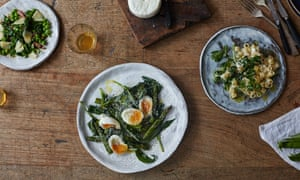 Salted ricotta is perfect to complement delicate produce, such as this asparagus, wild garlic and soft eggs.