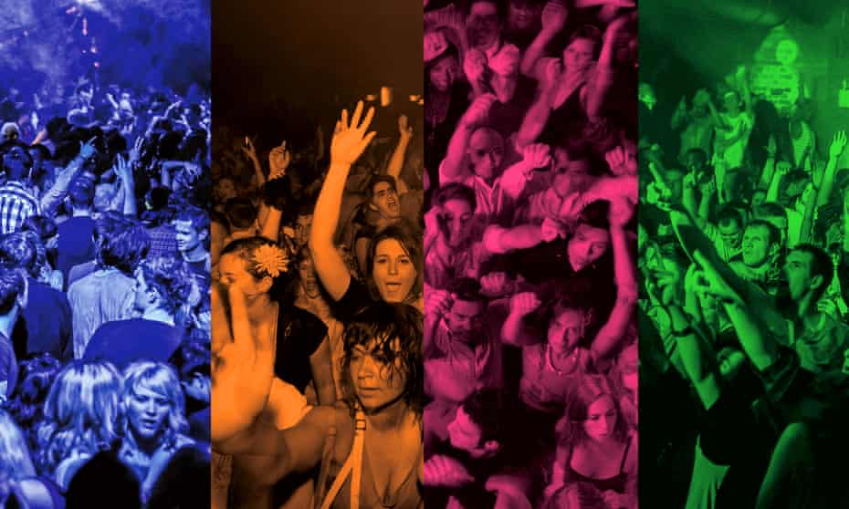 Composite of images of crowds at nightclubs