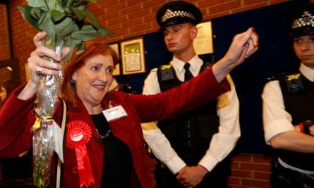 Labour's Emma Dent Coad celebrates winning the Kensington seat.