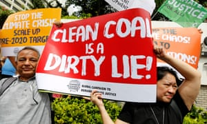 Climate activists protest at the UN climate change meeting in Bangkok on 4 September