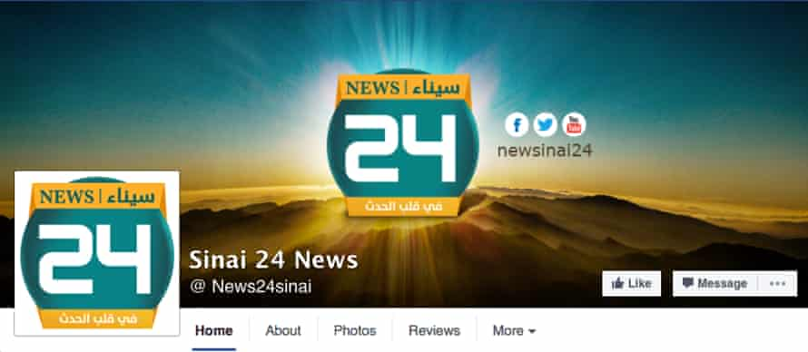 A screengrab of the Sinai News 24 page on Facebook, which currently has more than 133,000 followers.