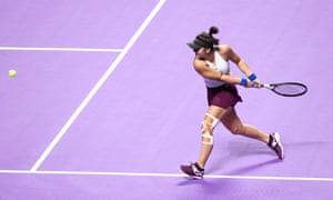 Bianca Andreescu of Canada injured her knee at the WTA Finals in Shenzhen.