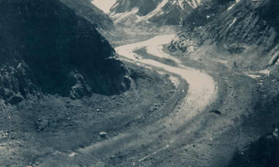 Artist Emma Stibbon's cyanotype 'Mer de Glace, June 2018'. The Mer de Glace, at Chamonix, has retreated by two kilometres from its 1850 position.