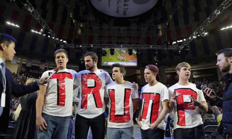 Liberty University students at a Trump rally in Lynchburg, Virginia, January 2016.