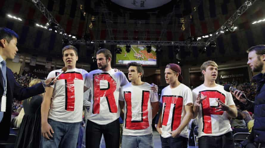 Liberty University students wait for the arrival of Donald Trump during a campaign rally in 2016.