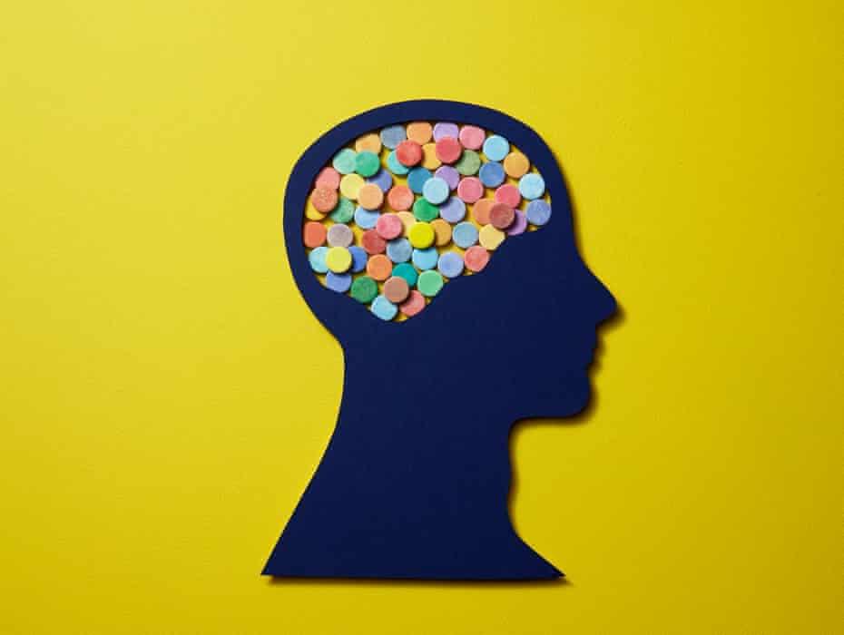 Illustration of a head full of pills