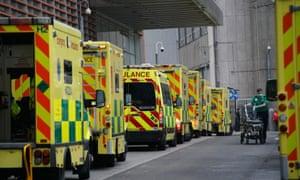 Ambulances queue outside the Royal London hospital