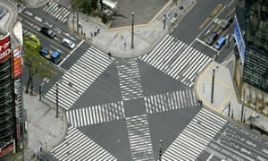 An aerial view shows an empty pedestrian crossing at Ginza district in Tokyo.